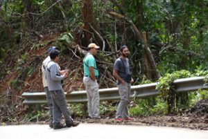 A group of field technicians during the project's preliminary survey (from left to right, Julio Salgado, Gabriel Lugo and Luis Ramos). Photo credit: Pedro William Santana.