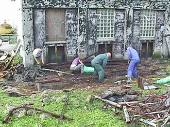 Volunteers at work at cleanup on Farallon Islands (2000)